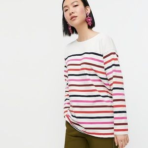 J crew striped boatneck cotton tunic xxs